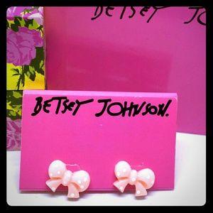 Betsey Johnson Pink Polka Dot Bow Stud Earrings